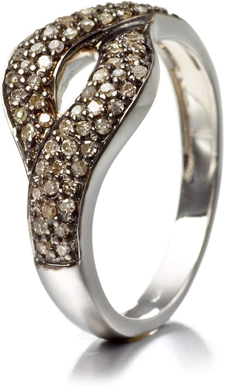Silvancé - Women's Ring - 925 Sterling Silver - Genuine Champagne Diamond - R5541CHD_SSR