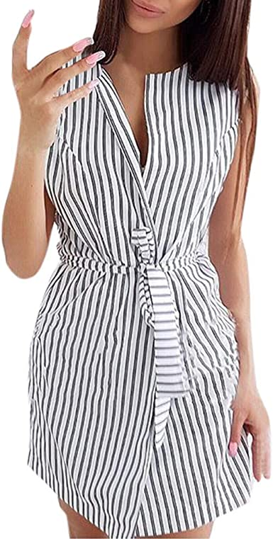 ReooLy✿Mode Manches Longues Femmes Casual Robe /à Volants ray/ée Mini