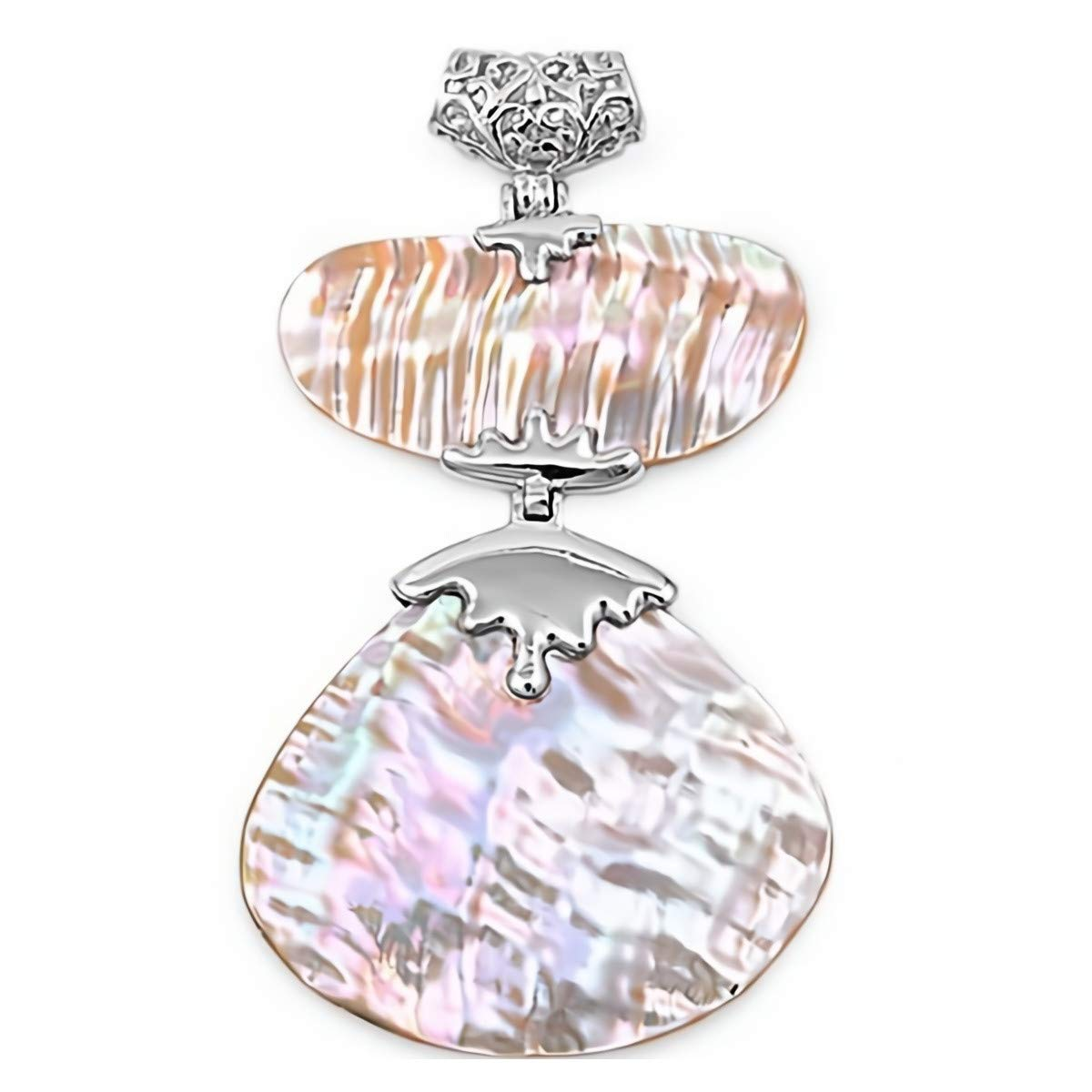 Glitzs Jewels 925 Sterling Silver Pendant with Stone in Gift Box Shell /& Simulated Pearl
