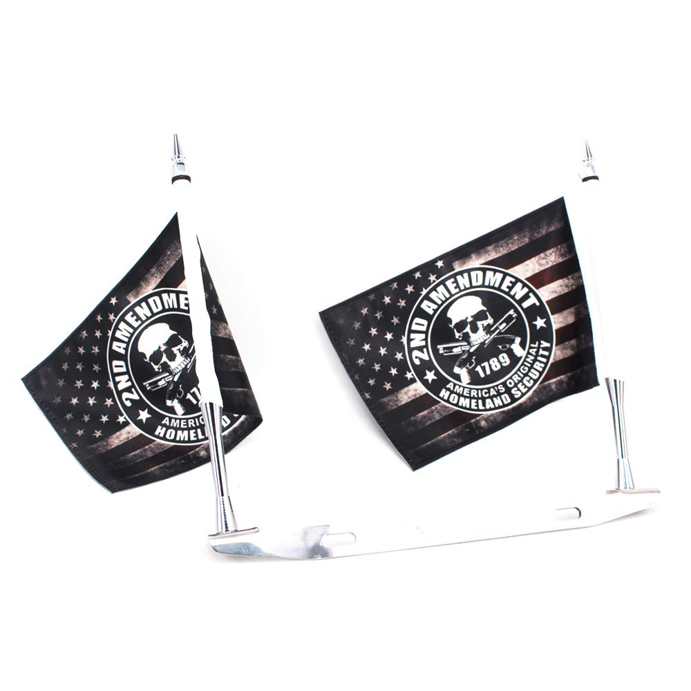 GUAIMI License Plate Mounted Double Flag Holder Double Motorcycle Flags 2x Jolly Roger Flag
