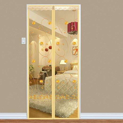 LIUSHI Fácil de Quitar Cinta mágica de Marco Completo de Puerta de Pantalla Simple, Cortina de Malla magnética antimosquitos fácil de Instalar para hogar-Beige A 100x220cm (39x87 Pulgadas): Amazon.es: Hogar