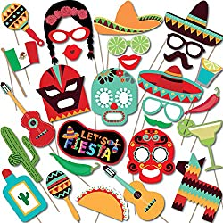 Mexican Fiesta Photo Booth Props by Woola Boutique – Themed Birthday, Wedding, Bachelorette, Taco, Cinco De Mayo Party Supplies Favors – For Funny Selfies or Decorations