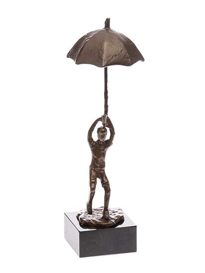 Escultura 25cm paraguas Hombre con paraguas figura moderna de estilo antiguo