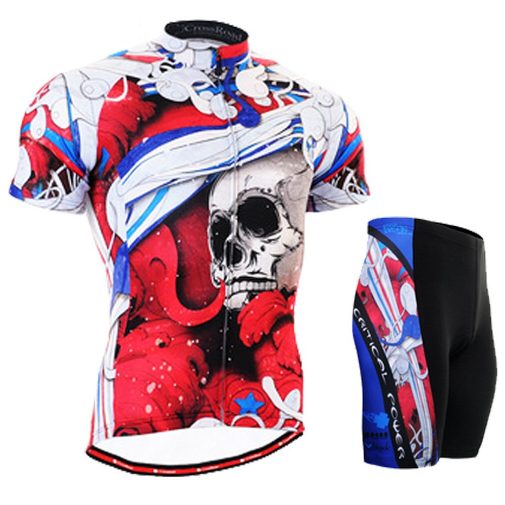 Cycling MTB Motorcycle Workout Sugar Skull Fire Compression Sportwear Short Suit Y71