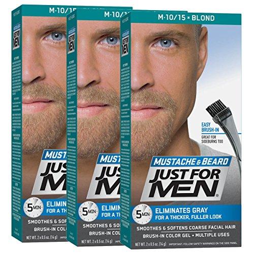 Just For Men Mustache & Beard Brush-In Color Gel, Blond (Pack of 3)