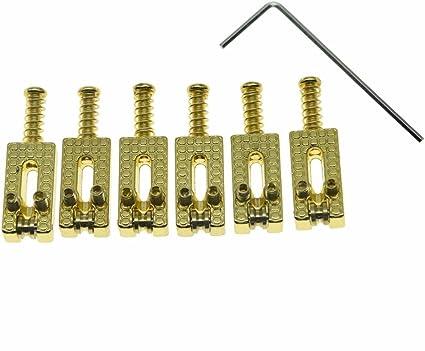 KAISH Electric Guitar Bridge Roller Saddles Set for Strat//Tele Chrome//Black//Gold