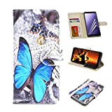Galaxy A8 Case, UrSpeedtekLive Galaxy A8 Wallet Case Folio Flip Premium PU Leather Case Cover with Card Holder Slot Pockets, Wrist Strap, Magnetic Closure For Samsung Galaxy A8 (2018)- Blue Butterfly