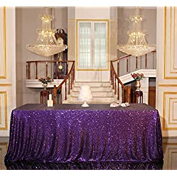 "PartyDelight Sequin Tablecloth, Wedding, Sweetheart, Christmas Tree, Rectangular, 48""x72"", Purple"