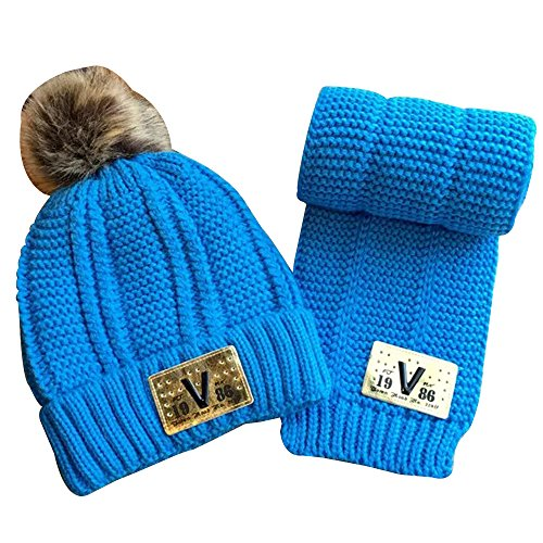 MiyaChic Baby Knit Hat and Scarf Unisex Infant Toddler Fleece-lined Beanie 2-8 Years