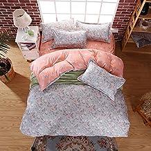 Wild Flowers Grey Bedding Set Duvet Cover Pillow Sham Flat Sheet Teen Kids Boys Girls Bedding, Twin Size