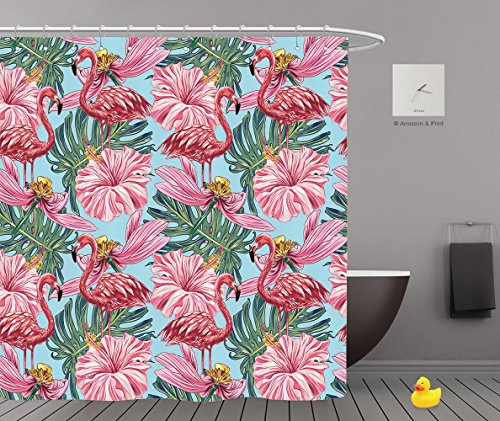 Shower Curtains 2.0 by iPrint,Pe8454_Pink Flamingos Tropical Flowers And Jungle Leaves Hibiscus Pink Lotus Beautiful Seamless Vector 01,Bathroom Accessories,Waterproof Bathroom Shower Curtain Set wit