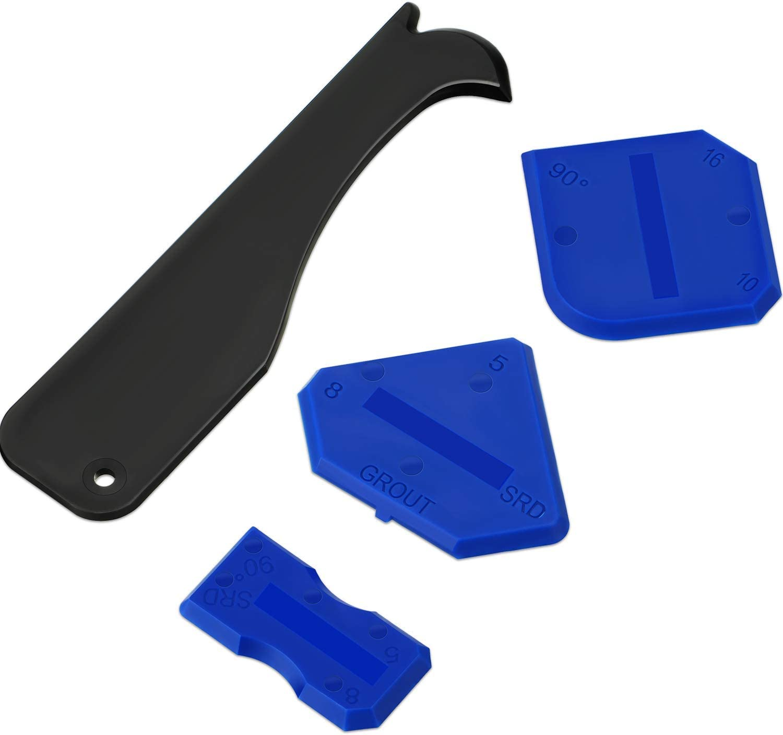 Outus 4 Pieces Sealant Tool Caulking Tool Kit for Bathroom Kitchen and Frames Sealant Seals (Black, Blue) - -