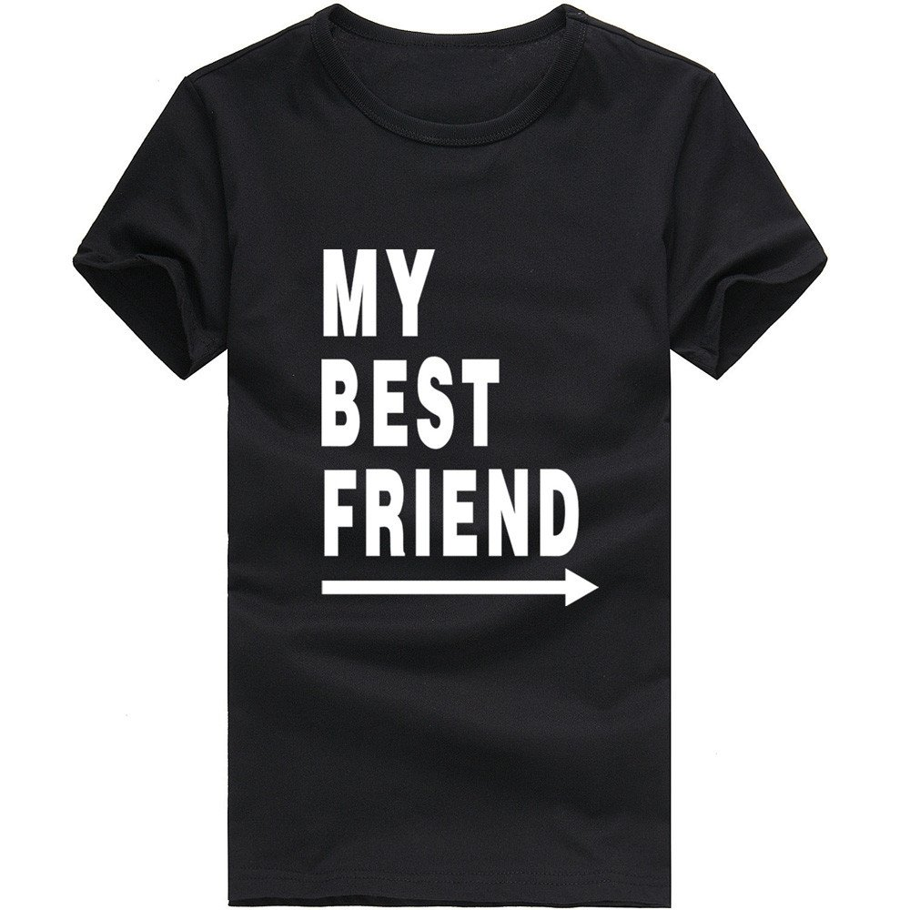 MISYAA Best Friend T Shirts for Men, Letters Muscle Tee Shirt Short Sleeve Sweatshirt Sport Tank Top Pals Gift Mens Tops Black