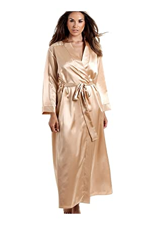 b24d662ef7 Camille Womens Ladies Luxury Gold Satin Dressing Gown 10 12  Camille   Amazon.co.uk  Clothing