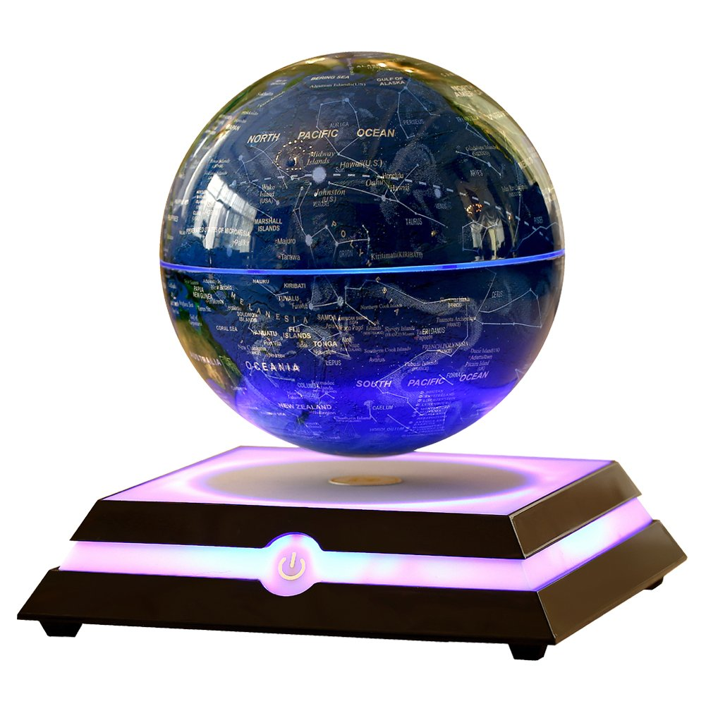 KABADDI Magnetic Floating Globe Anti-Gravity Rotating Levitating Globe World Map with Star Constellation & Zodiac Display for Home Office Desk Decor, Birthday Gift (6 inch Navy Blue)