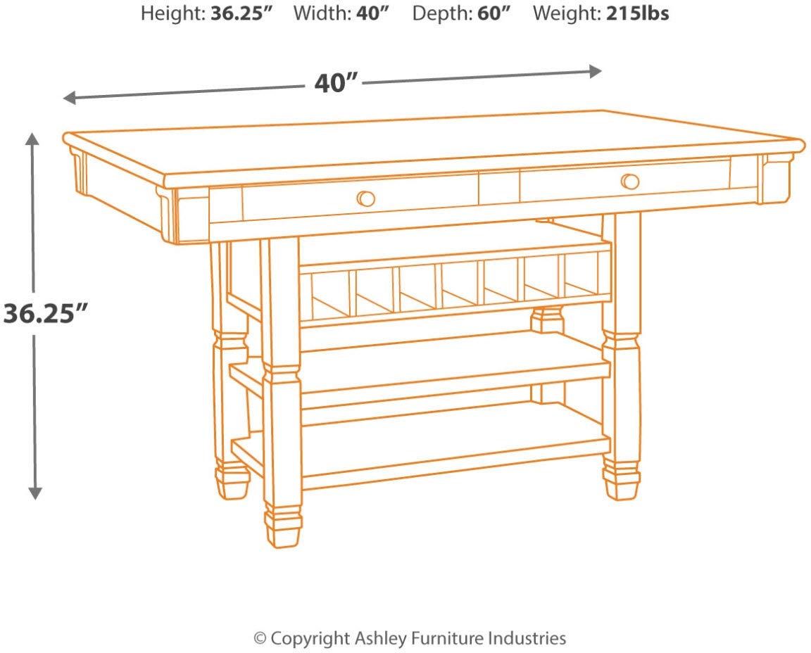 Ashley Furniture Signature Design - Bolanburg Counter Height Dining Room Table - Antique White by Signature Design by Ashley (Image #8)