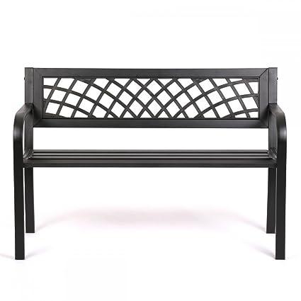 Patio Park Garden Bench Porch Path Chair Outdoor Deck Steel Frame New
