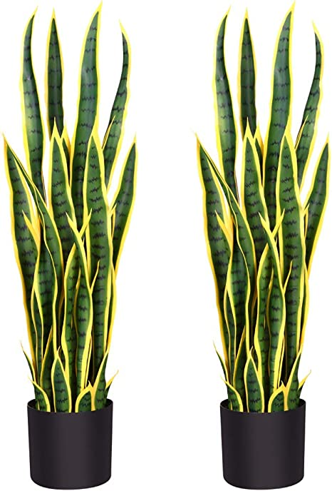 Amazon Com Fopamtri Artificial Snake Plant 38 Inch Fake Sansevieria Trifasciata With 32 Leaves Faux Plant For Indoor Outdoor Feaux Plants In Pot For Home Office Perfect Housewarming Gift 38 Inch 2 Pack Yellow