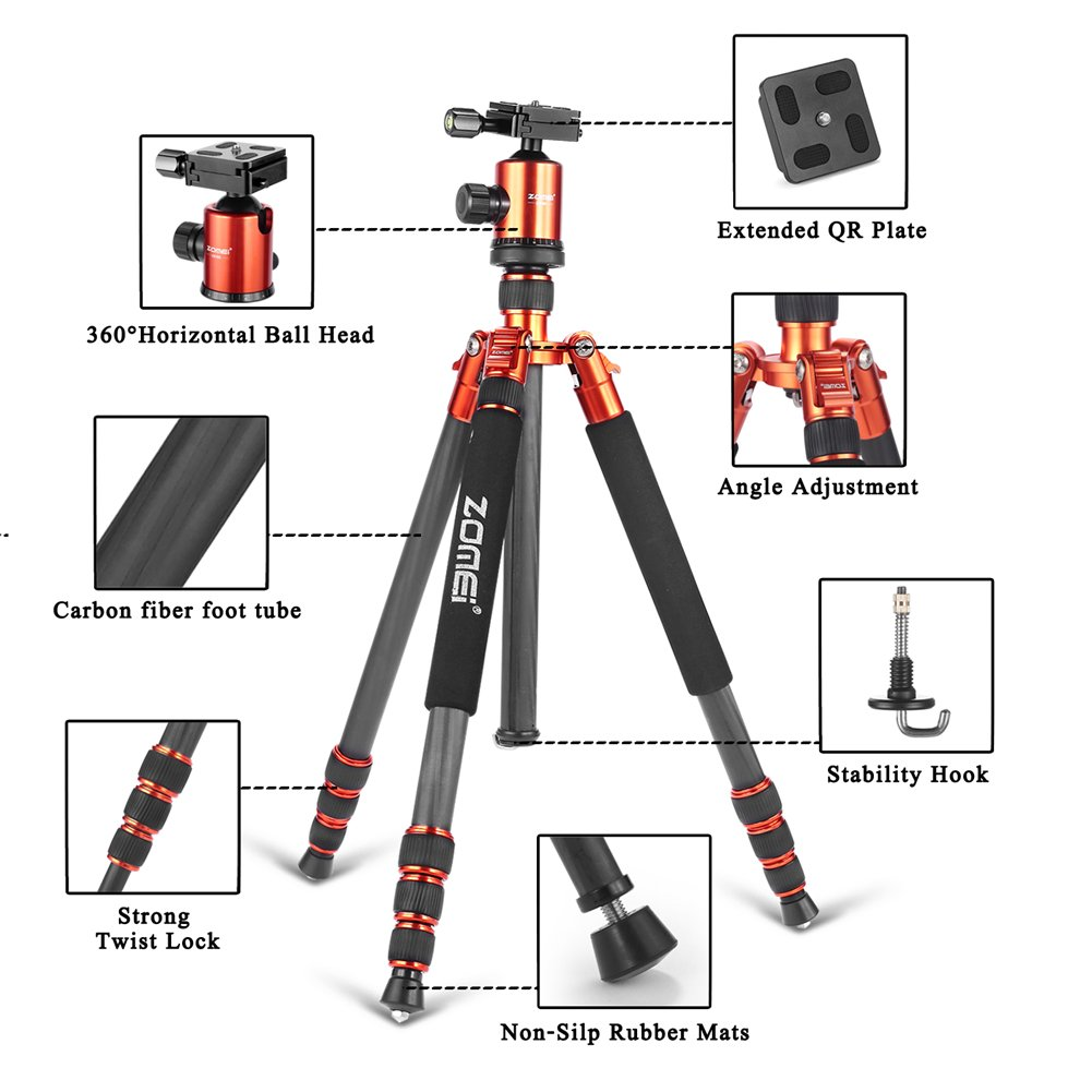 ZOMEI  Light Weight Portable Carbon Fiber Travel Complete Tripod Come With Ball Head Carry Case For Digital/Camcorder/DSLR/SLR/Video Camera, Orange