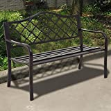 GHP Black 500Lbs Capacity 50'' Metal & Cast Iron Garden Loveseat Bench with Armrests