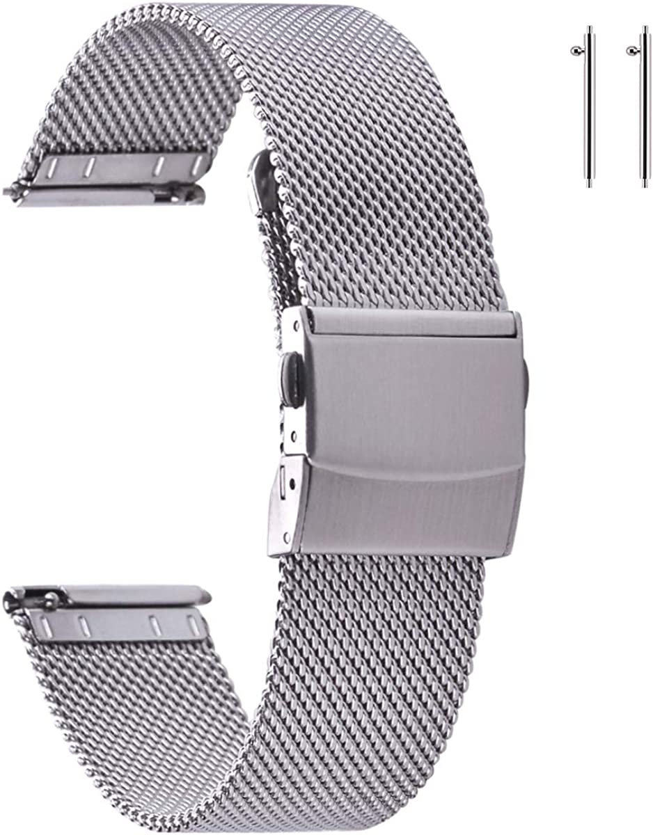 EACHE Stainless Steel Mesh Watch Band for Mens Women, Quick Release Mesh Watch Straps 12mm 14mm 16mm 18mm 20mm 22mm