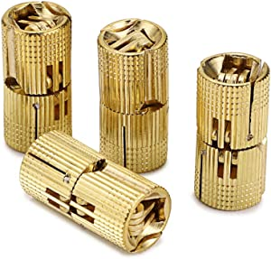 OwnMy 16mm Hidden Brass Barrel Hinges 4PCS, Concealed Box Hinges Invisible Furniture Hinges 180 Degree Opening Angle Cabinet Hinges for DIY Jewelry Box Hand Craft