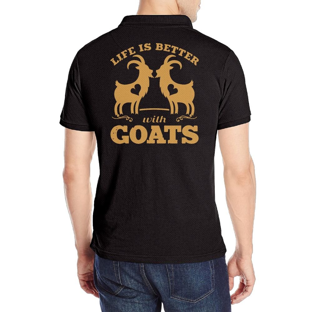 Mens Life is Better with Goats Short Sleeves Polo Sport Shirt