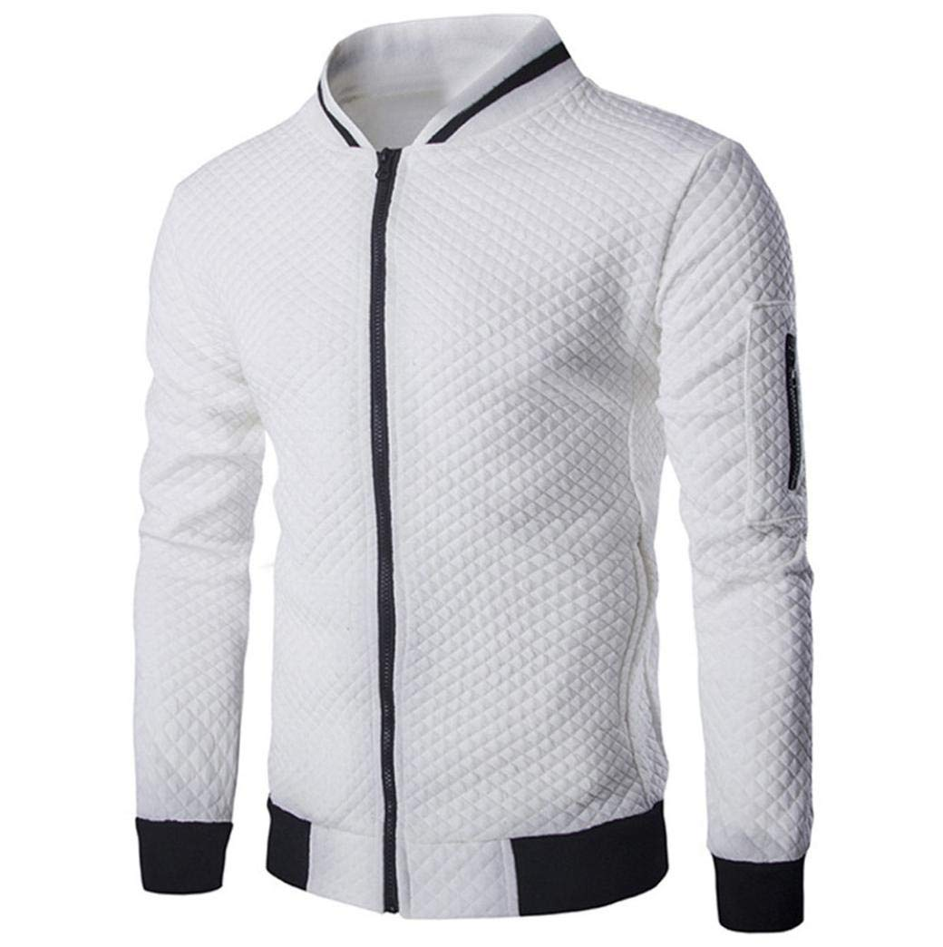 Danhjin Winter Mens' Long Sleeve Thermal Plaid Cardigan Zipper Sweatshirt Tops Coat Outwear Motorcycle Jacket (White, S)