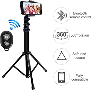 Selfie Stick Tripod, Extendable Tripod Stand with Bluetooth Remote for iPhone & Android Phone Gopro,Lightweight