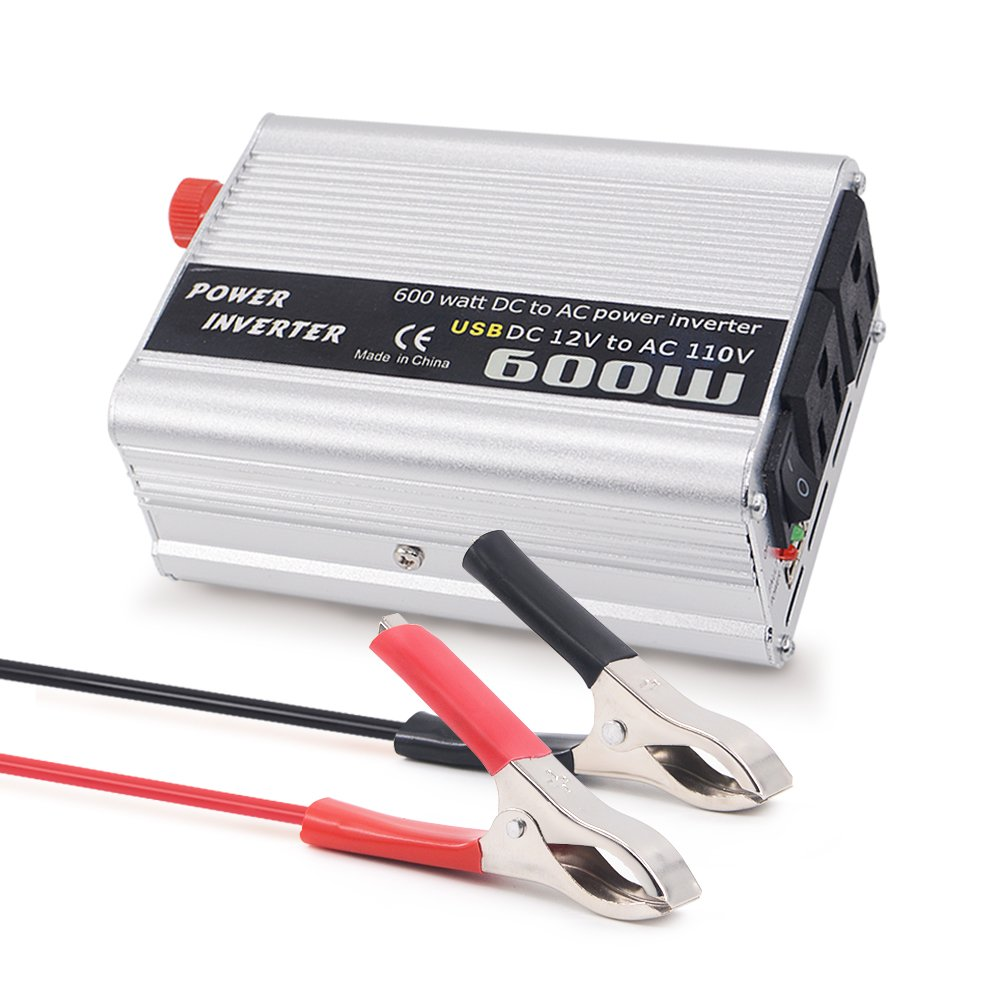 Mesllin 600W Power Inverter, DC12V to AC 110V Car Modified Sine Wave Converter with 2 Outlets and 1 USB Port for Laptops, Tablets