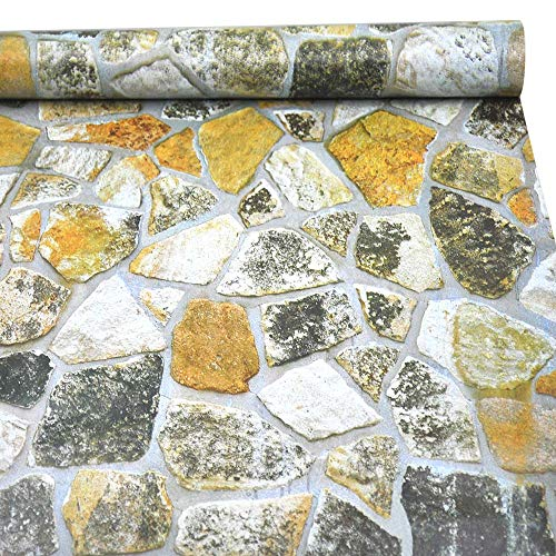 (Rock Wallpaper, H2MTOOL Removable Self Adhesive Stone Wallpaper (17.7