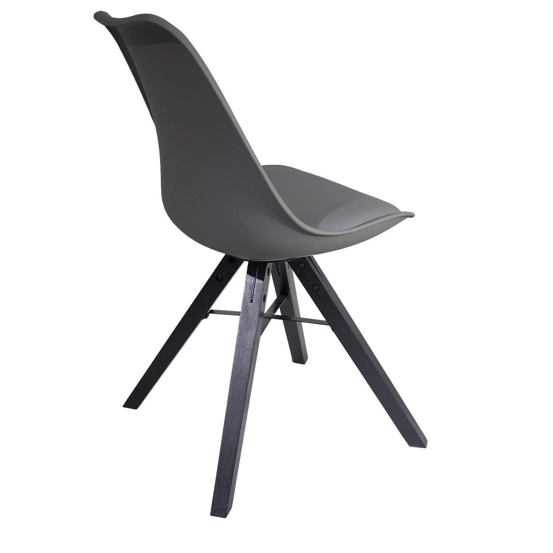 Heyesk Dining Room Chair Mid Century Modern Chairs,Upholstered Seat(Grey, 1) by heyesk (Image #5)