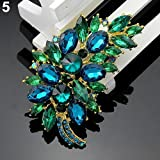 Type 5 Vintage Feather Flower Rhinestone Brooch Broach Pin Banquet Badge Breastpin