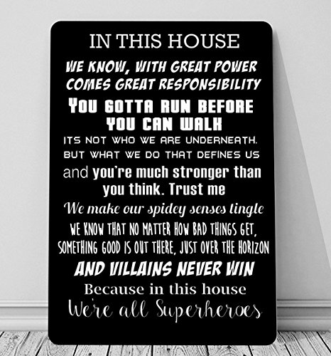 Artylicious In This House We Are Superheroes Batman Quotes A4 Retro