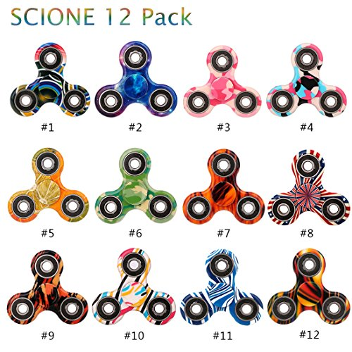 Fidget Spinner 12 Pack ADHD Stress Relief Anxiety Toys Best Autism Fidgets spinners for Adults Children Finger Toy with Bearing Focus Fidgeting Restless Colorful Hand Spin Party Favor by SCIONE