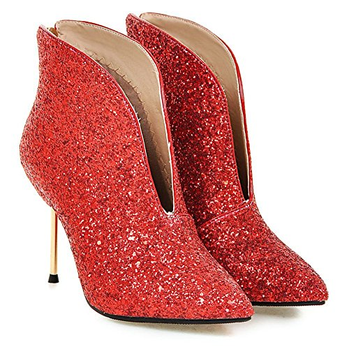 Kaloosh Women's Mature Sexy Glitter Fabric Pointed Toe Stiletto Heel Ankle Boots Red WFkLp