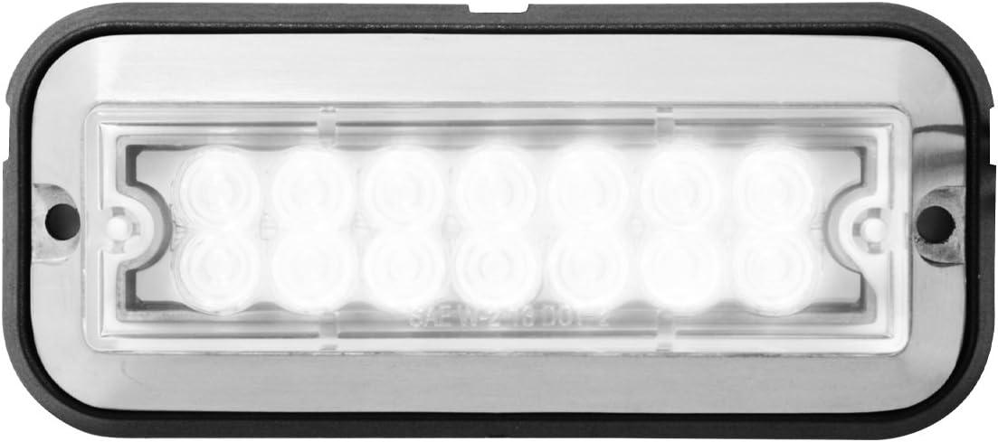 Grand General 81824 White/Clear Medium Rectangular 14 LED Strobe Light 6146mTRVapL