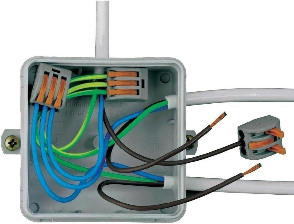 R/ápido Resorte Bloque Terminal 4 Puertos Conectores de Cable Conductor Compactos Aiqeer 50Pcs PCT-214 Palanca Tuerca Cable Conectors