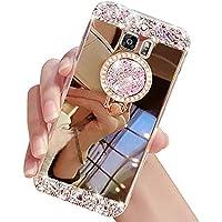 Galaxy S8Caso, inspirationc Crystal Rhinestone vidrio de espejo caso Bling Diamond Maquillaje caso de goma suave para Samsung Galaxy S8con soporte desmontable Anillo de 360grados, Dorado, 1