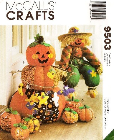 McCALL'S CRAFTS 9503 HALLOWEEN THANKSGIVING FALL JACK -O-LANTERNS, SCARECROW, PUMPKINS & MORE! ~ SEWING PATTERN]()