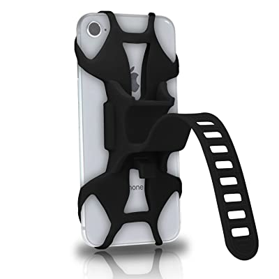 Universal Silicone Bike Phone Mount for Motorcycle - Bike Handlebars,Adjustable,Fits iPhone X, iPhone 8   8 Plus,Galaxy S9, S8, S7,Cell Phone Smartphone Holder (Black)