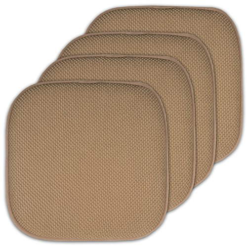 Sweet Home Collection 4 Pack Memory Foam Honeycomb Nonslip Back 16