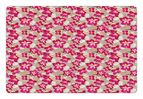 (Ambesonne Flower Pet Mat for Food and Water, Tropical Blooms Hibiscus Petals Caribbean Vibes Aloha Seascape Summer Pattern, Rectangle Non-Slip Rubber Mat for Dogs and Cats, Magenta White Tan)