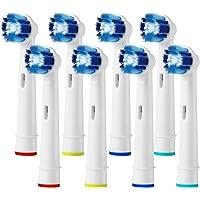 可兼容替换牙刷头替换装适用于 Oral-B Braun 电动牙刷 Pro 1000 Pro 3000 Pro 5000 Pro 7000 Vitality 8 支装