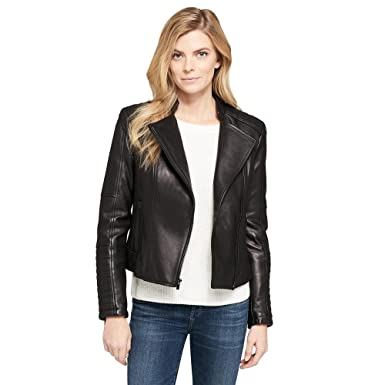 Wilsons Leather Womens Quilted Leather Moto Jacket At Amazon Womens