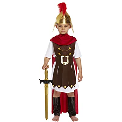 Rimi Hanger Childrens Roman General Fancy Dress Costume Boys Gladiator Emperor Sparta Soldier Outfit 4-12 Years: Clothing