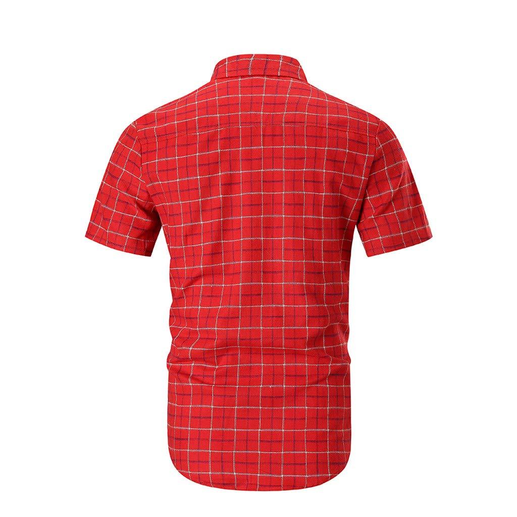 Pandaie Mens Blouse Shirts Mens Splicing Lattice Gradient Casual Fashion Lapel Short Sleeve Shirt