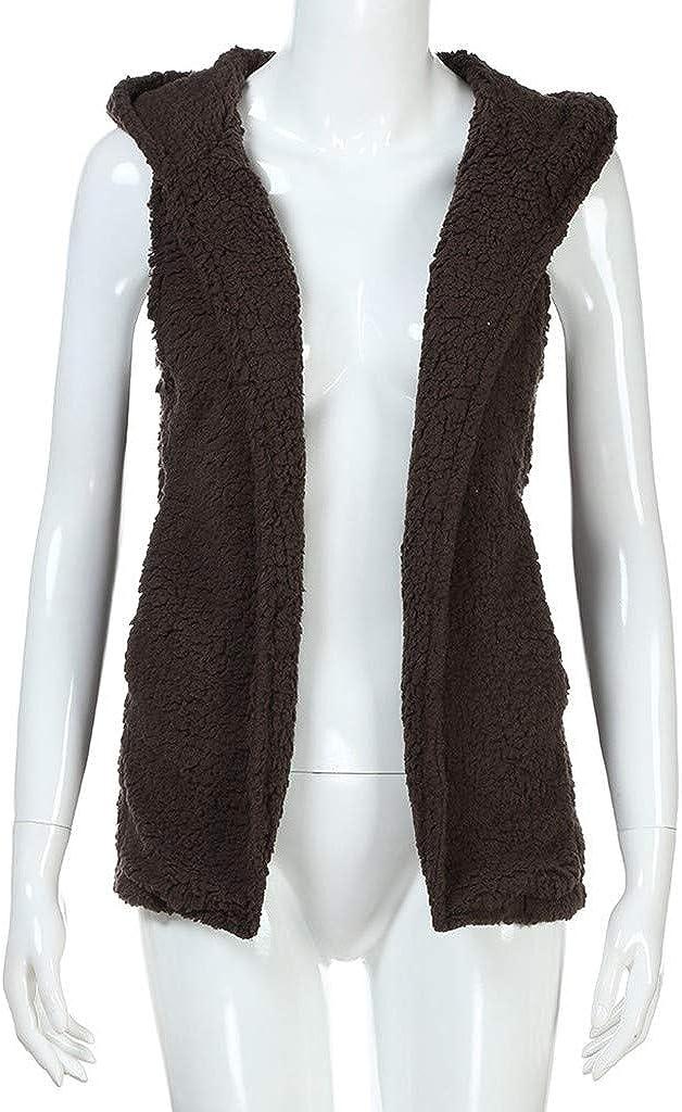 WooCo Sherpa Jacket Women with Hood Sleeveless Fuzzy Fleece Vests Cardigan Outerwear Coat with Pockets