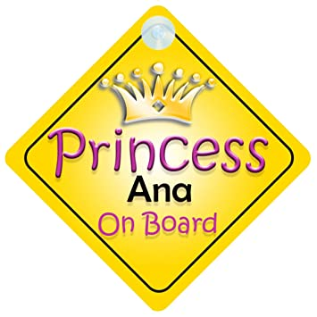 Princess Anna On Board Personalised Girl Car Sign Child Gift 001
