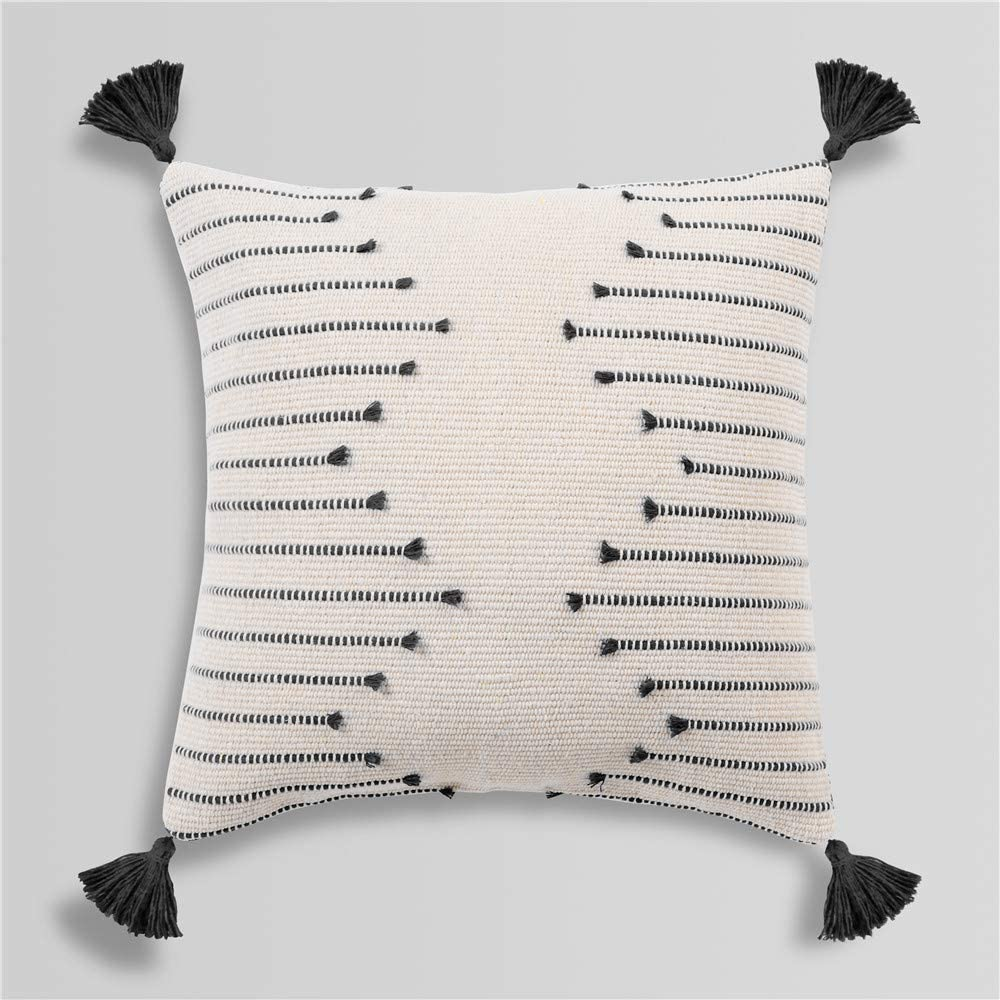 Amazon Com Sungea Farmhouse Black And Cream Square Pillow Cover 18 X 18 Decorative Throw Pillow Case Tribal Geometric Tufted Tassels Woven Cushion Cover Accent Neutral Collection For Sofa Couch Living Room Home